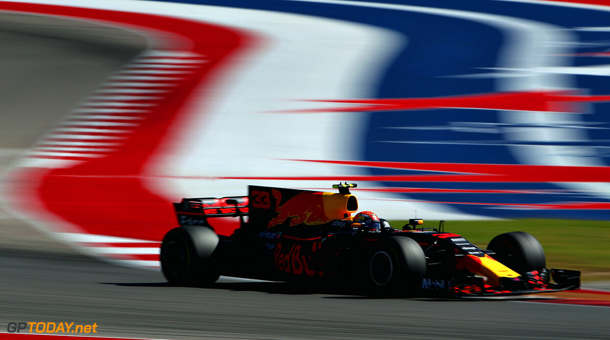 AUSTIN, TX - OCTOBER 22: Max Verstappen of the Netherlands driving the (33) Red Bull Racing Red Bull-TAG Heuer RB13 TAG Heuer on track during the United States Formula One Grand Prix at Circuit of The Americas on October 22, 2017 in Austin, Texas.  (Photo by Clive Mason/Getty Images) // Getty Images / Red Bull Content Pool  // P-20171022-01786 // Usage for editorial use only // Please go to www.redbullcontentpool.com for further information. //  F1 Grand Prix of USA Clive Mason Austin United States  P-20171022-01786