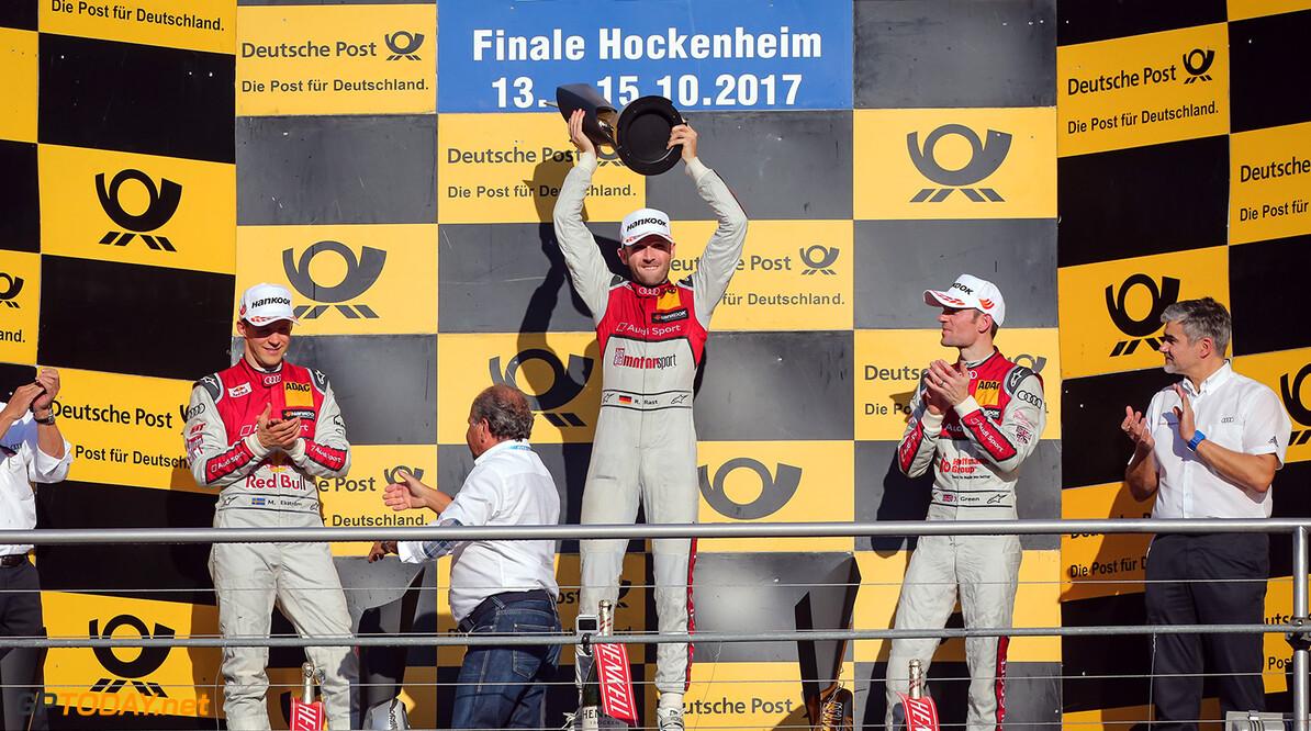 Motorsports: DTM race Hockenheim-II, Saison 2017 - 9. Event Hockenheimring, GER, # 5 Mattias Ekstr?m (SWE, Audi Sport Team Abt, Audi RS5 DTM), # 33 Rene Rast (GER, Audi Sport Team Rosberg, Audi RS5 DTM), # 53 Jamie Green (GBR, Audi Sport Team Rosberg, Audi RS5 DTM) Motorsports: DTM race Hockenheimring Gruppe C / Hoch Zwei   Germany  Freude Joy Jubel Jubel celebration Podium Sieger VersandPartnerDTM VersandPartnerStandard