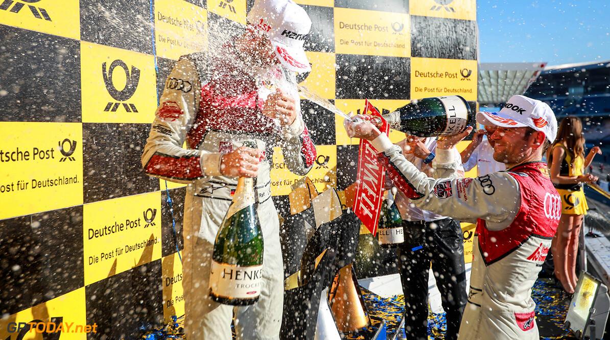Motorsports: DTM race Hockenheim-II, Saison 2017 - 9. Event Hockenheimring, GER, # 33 Rene Rast (GER, Audi Sport Team Rosberg, Audi RS5 DTM) Motorsports: DTM race Hockenheimring Gruppe C / Hoch Zwei   Germany  Freude Joy Jubel Jubel celebration Podium Sieger VersandPartnerDTM VersandPartnerStandard