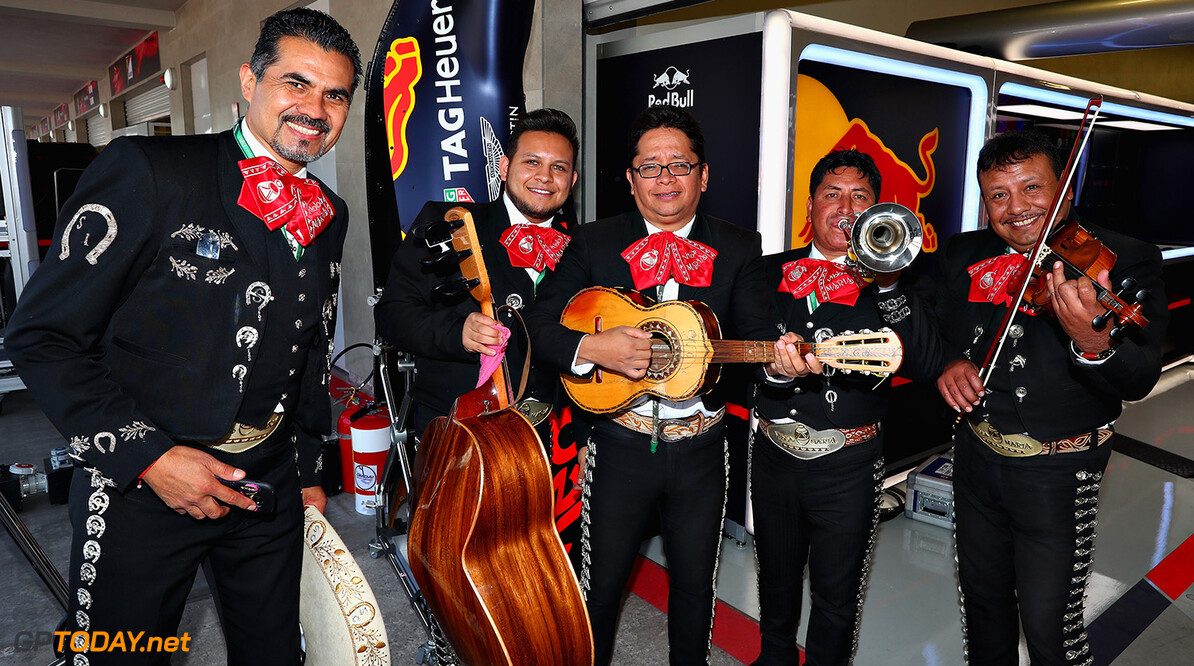 MEXICO CITY, MEXICO - OCTOBER 26:  A mariachi band outside the Red Bull Racing garage during previews to the Formula One Grand Prix of Mexico at Autodromo Hermanos Rodriguez on October 26, 2017 in Mexico City, Mexico.  (Photo by Clive Rose/Getty Images) // Getty Images / Red Bull Content Pool  // P-20171026-00828 // Usage for editorial use only // Please go to www.redbullcontentpool.com for further information. //  F1 Grand Prix of Mexico - Previews Clive Rose Mexico City Mexico  P-20171026-00828