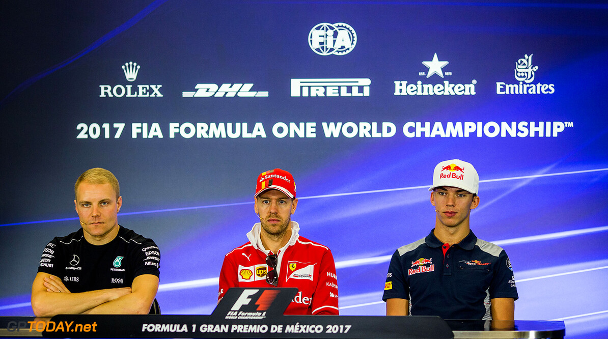 MEXICO CITY, MEXICO - OCTOBER 26:  Valterri Bottas of Mercedes and Finland, Sebastian Vettel of Ferrari and Germany, Pierre Gasly of Scuderia Toro Rosso and France during previews to the Formula One Grand Prix of Mexico at Autodromo Hermanos Rodriguez on October 26, 2017 in Mexico City, Mexico.  (Photo by Peter Fox/Getty Images) // Getty Images / Red Bull Content Pool  // P-20171027-00092 // Usage for editorial use only // Please go to www.redbullcontentpool.com for further information. //  F1 Grand Prix of Mexico - Previews Peter Fox Mexico City Mexico  P-20171027-00092