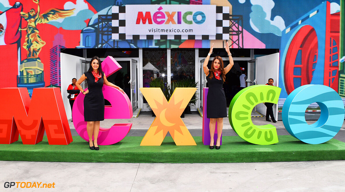 Formula One World Championship Mexico signage and girls at Formula One World Championship, Rd19, Mexican Grand Prix, Practice, Circuit Hermanos Rodriguez, Mexico City, Mexico, Friday 28 October 2016. BEST IMAGE Mexican Grand Prix Practice  Mexico City Mexico  F1 Formula 1 GP portrait