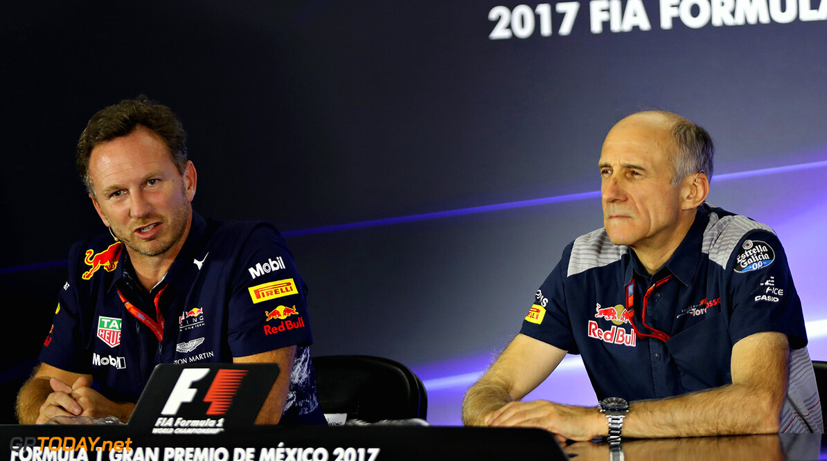 MEXICO CITY, MEXICO - OCTOBER 27:  Red Bull Racing Team Principal Christian Horner and Scuderia Toro Rosso Team Principal Franz Tost in the Team Principals Press Conference during practice for the Formula One Grand Prix of Mexico at Autodromo Hermanos Rodriguez on October 27, 2017 in Mexico City, Mexico.  (Photo by Mark Thompson/Getty Images) // Getty Images / Red Bull Content Pool  // P-20171027-01932 // Usage for editorial use only // Please go to www.redbullcontentpool.com for further information. //  F1 Grand Prix of Mexico - Practice Mark Thompson Mexico City Mexico  P-20171027-01932