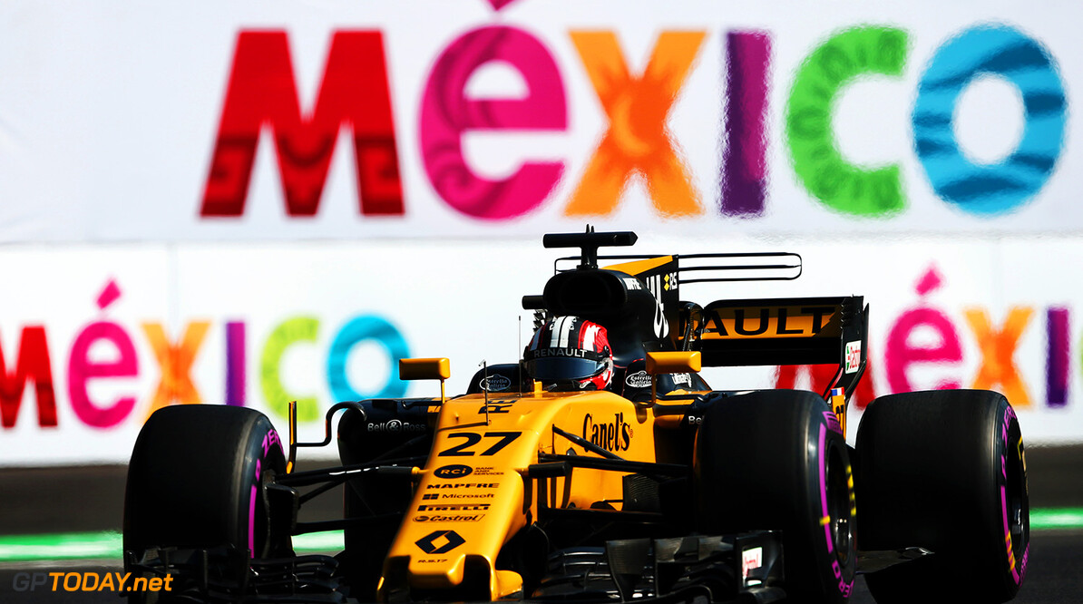 Formula One World Championship Nico Hulkenberg (GER) Renault Sport F1 Team RS17. Mexican Grand Prix, Friday 27th October 2017. Mexico City, Mexico. Motor Racing - Formula One World Championship - Mexican Grand Prix - Practice Day - Mexico City, Mexico Renault Sport Formula One Team Mexico City Mexico  Formula One Formula 1 F1 GP Grand Prix Circuit Mexico Mexican Mexico City Autodromo Hermanos JM779 Hulkenberg H?lkenberg Huelkenberg Action Track GP1718b