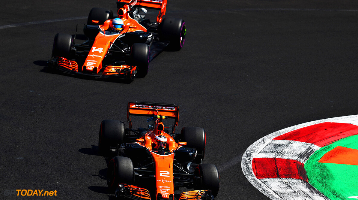Autodromo Hermanos Rodriguez, Mexico City, Mexico. Saturday 28 October 2017. Stoffel Vandoorne, McLaren MCL32 Honda, leads Fernando Alonso, McLaren MCL32 Honda. Photo: Clive Rose/McLaren ref: Digital Image 687710723_CR_2222a_EDEBD957703C20D5A857C5CC4D33766C F1 Grand Prix of Mexico - Qualifying Clive Rose Mexico City Mexico  f1 formula 1 formula one gp grand prix Action