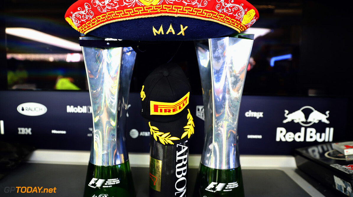 MEXICO CITY, MEXICO - OCTOBER 29:  The race winners trophy of Max Verstappen of Netherlands and Red Bull Racing in the Red Bull Racing garage after the Formula One Grand Prix of Mexico at Autodromo Hermanos Rodriguez on October 29, 2017 in Mexico City, Mexico.  (Photo by Mark Thompson/Getty Images) // Getty Images / Red Bull Content Pool  // P-20171029-01329 // Usage for editorial use only // Please go to www.redbullcontentpool.com for further information. //  F1 Grand Prix of Mexico Mark Thompson Mexico City Mexico  P-20171029-01329