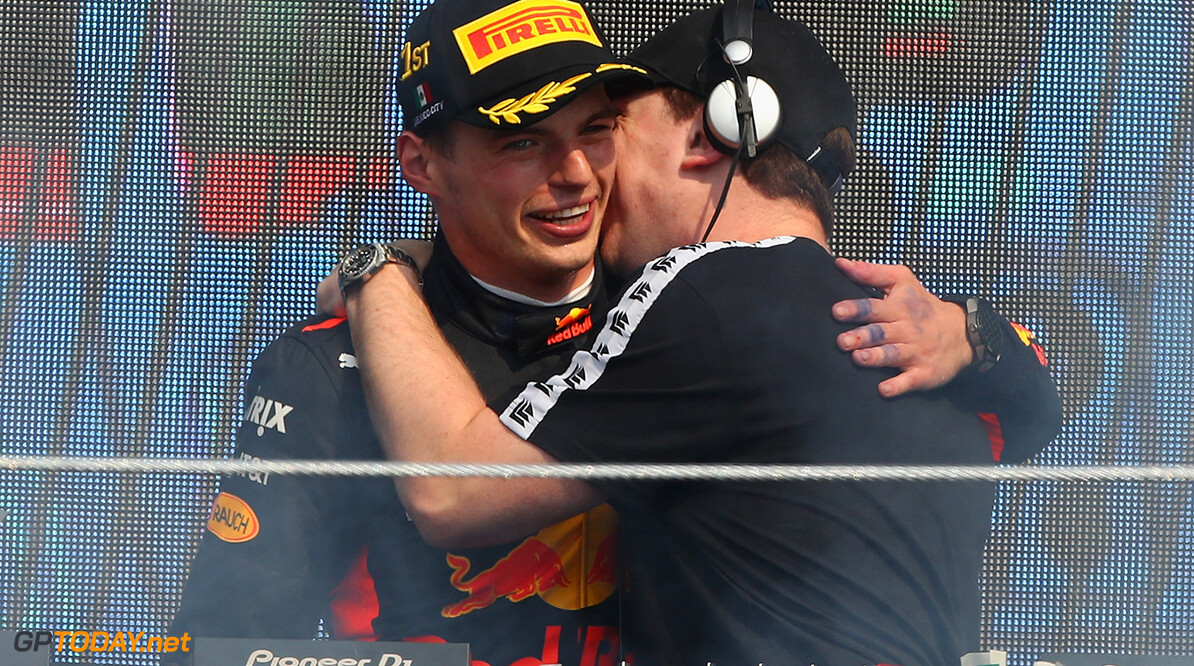 MEXICO CITY, MEXICO - OCTOBER 29:  International Dutch DJ, Hardwell congratulates race winner Max Verstappen of Netherlands and Red Bull Racing on the podium the Formula One Grand Prix of Mexico at Autodromo Hermanos Rodriguez on October 29, 2017 in Mexico City, Mexico.  (Photo by Clive Mason/Getty Images) // Getty Images / Red Bull Content Pool  // P-20171029-01377 // Usage for editorial use only // Please go to www.redbullcontentpool.com for further information. //  F1 Grand Prix of Mexico Clive Mason Mexico City Mexico  P-20171029-01377