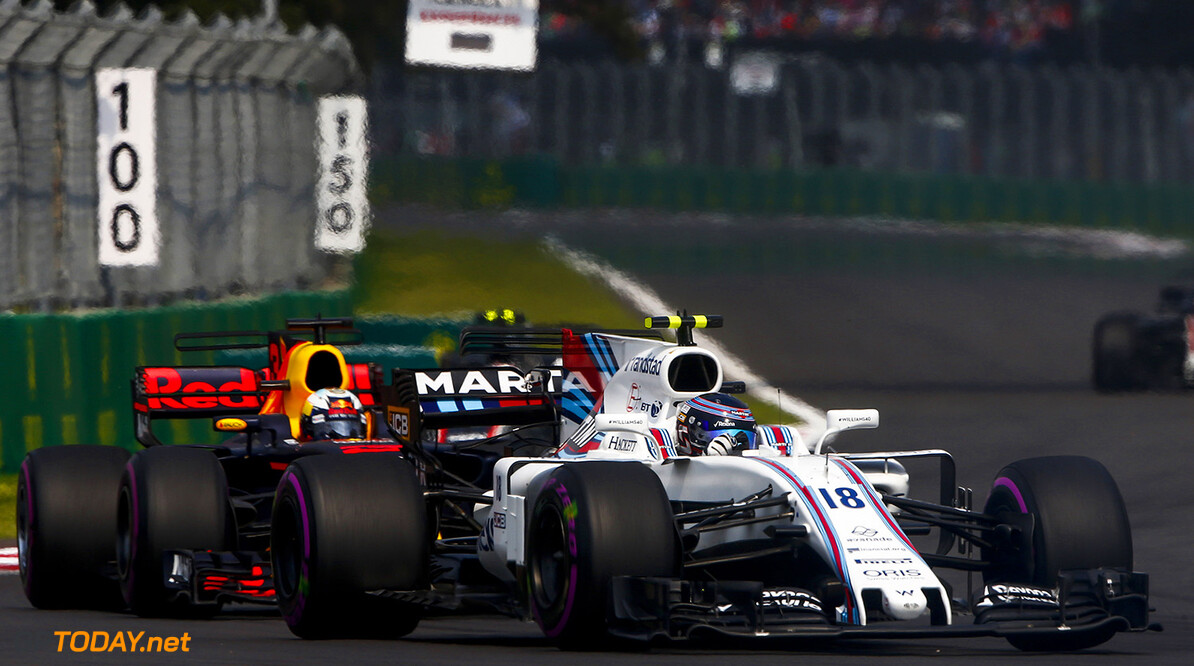 Autodromo Hermanos Rodriguez, Mexico City, Mexico. Sunday 29 October 2017. Lance Stroll, Williams FW40 Mercedes, leads Daniel Ricciardo, Red Bull Racing RB13 TAG Heuer. Photo: Andrew Hone/Williams ref: Digital Image _ONY6060  Andy Hone    f1 formula 1 formula one gp Action