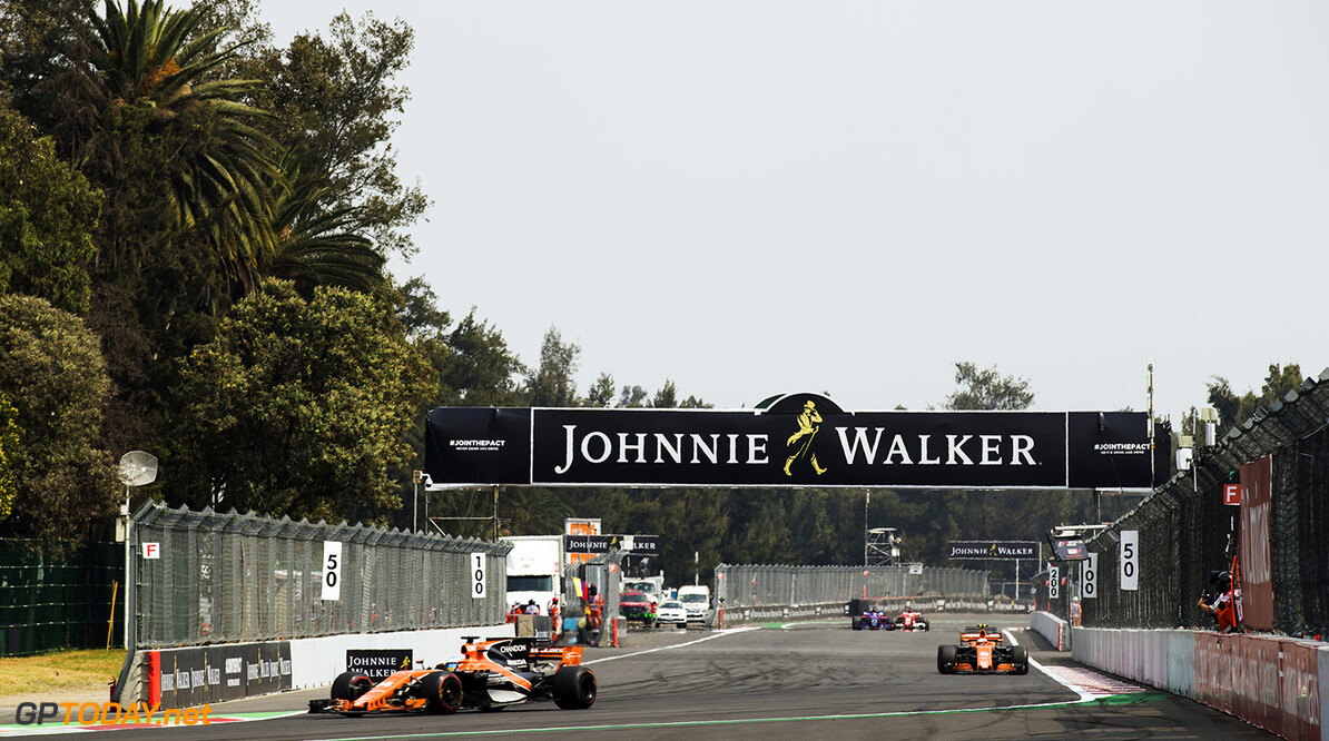 Autodromo Hermanos Rodriguez, Mexico City, Mexico. Sunday 29 October 2017. Fernando Alonso, McLaren MCL32 Honda, leads Stoffel Vandoorne, McLaren MCL32 Honda. Photo: Sam Bloxham/McLaren ref: Digital Image _J6I0353      f1 formula 1 formula one gp grand prix Action