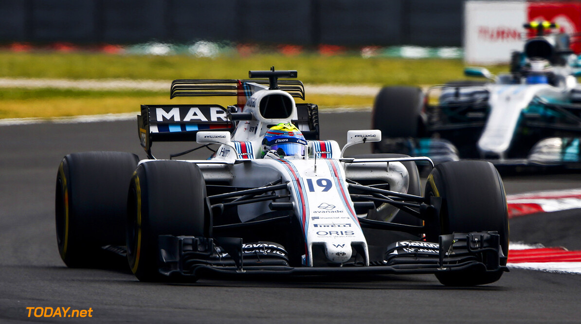 Autodromo Hermanos Rodriguez, Mexico City, Mexico. Sunday 29 October 2017. Felipe Massa, Williams FW40 Mercedes, leads Valtteri Bottas, Mercedes F1 W08 EQ Power+. Photo: Andrew Hone/Williams ref: Digital Image _ONY6702  Andy Hone    f1 formula 1 formula one gp Action