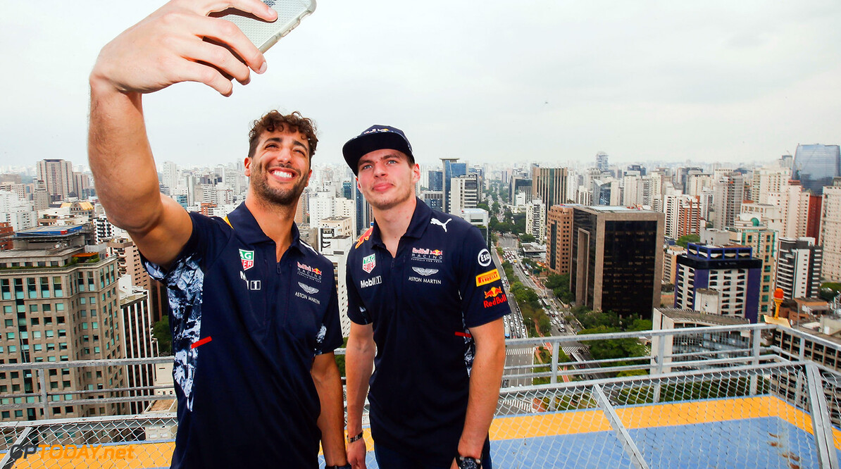 SAO PAULO, BRAZIL - NOVEMBER 08:  Max Verstappen of Netherlands and Red Bull Racing and Daniel Ricciardo of Australia and Red Bull Racing try their hand at the Brazilian martial art of Capoeira during previews for the Formula One Grand Prix of Brazil on November 8, 2017 in Sao Paulo, Brazil.  (Photo by Alexandre Schneider/Getty Images) // Getty Images / Red Bull Content Pool  // P-20171108-01321 // Usage for editorial use only // Please go to www.redbullcontentpool.com for further information. //  F1 Grand Prix of Brazil - Previews Alexandre Schneider Sao Paulo Brazil  P-20171108-01321