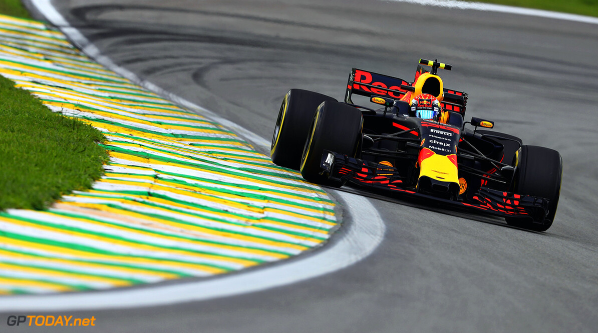 SAO PAULO, BRAZIL - NOVEMBER 10: Max Verstappen of the Netherlands driving the (33) Red Bull Racing Red Bull-TAG Heuer RB13 TAG Heuer on track during practice for the Formula One Grand Prix of Brazil at Autodromo Jose Carlos Pace on November 10, 2017 in Sao Paulo, Brazil.  (Photo by Mark Thompson/Getty Images) // Getty Images / Red Bull Content Pool  // P-20171110-01750 // Usage for editorial use only // Please go to www.redbullcontentpool.com for further information. //  F1 Grand Prix of Brazil - Practice Mark Thompson Sao Paulo Brazil  P-20171110-01750
