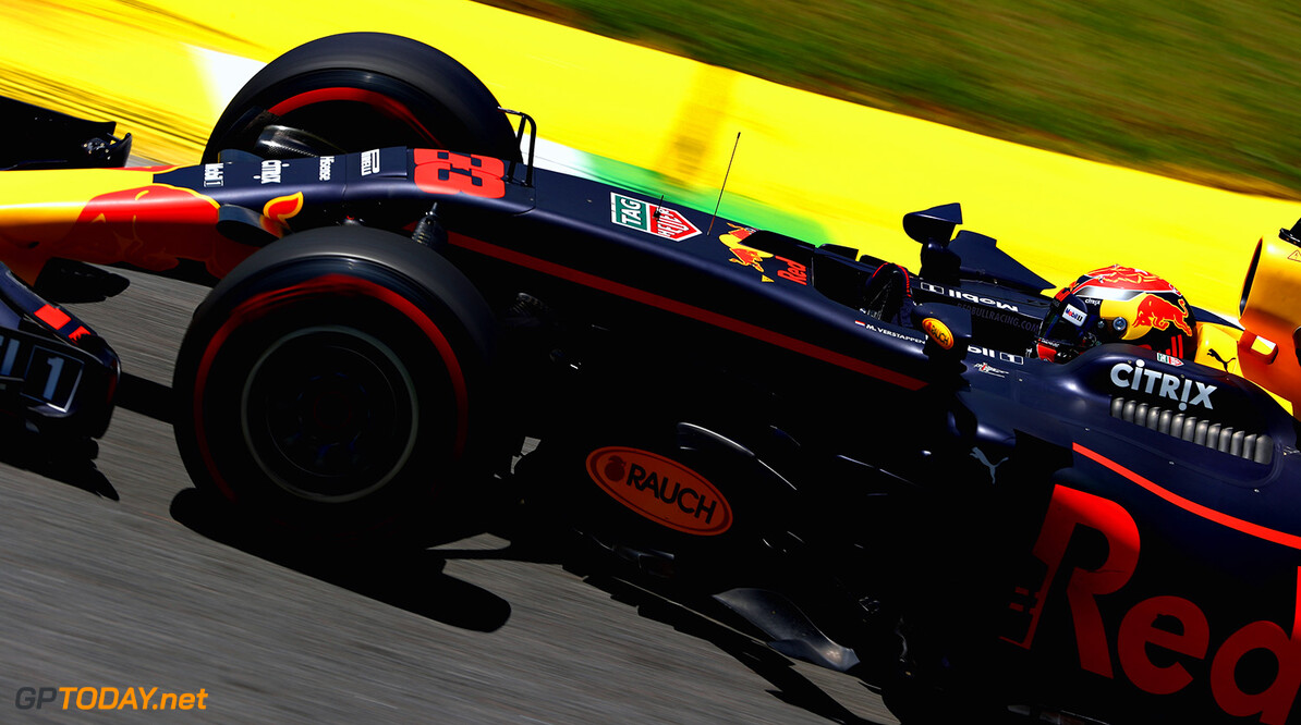 SAO PAULO, BRAZIL - NOVEMBER 10: Max Verstappen of the Netherlands driving the (33) Red Bull Racing Red Bull-TAG Heuer RB13 TAG Heuer on track during practice for the Formula One Grand Prix of Brazil at Autodromo Jose Carlos Pace on November 10, 2017 in Sao Paulo, Brazil.  (Photo by Dan Istitene/Getty Images) // Getty Images / Red Bull Content Pool  // P-20171110-01294 // Usage for editorial use only // Please go to www.redbullcontentpool.com for further information. //  F1 Grand Prix of Brazil - Practice Dan Istitene Sao Paulo Brazil  P-20171110-01294