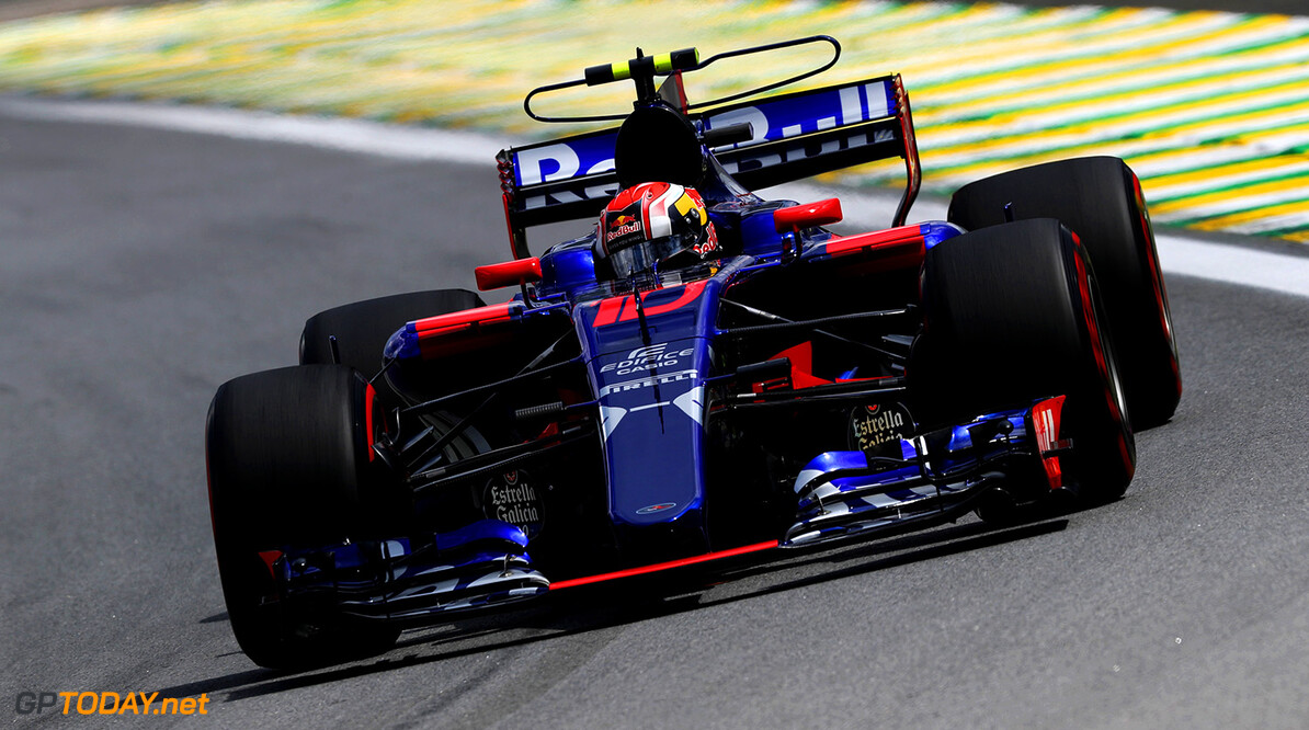 SAO PAULO, BRAZIL - NOVEMBER 10: Pierre Gasly of France and Scuderia Toro Rosso drives in the (10) Scuderia Toro Rosso STR12 on track during practice for the Formula One Grand Prix of Brazil at Autodromo Jose Carlos Pace on November 10, 2017 in Sao Paulo, Brazil.  (Photo by Mark Thompson/Getty Images) // Getty Images / Red Bull Content Pool  // P-20171110-02104 // Usage for editorial use only // Please go to www.redbullcontentpool.com for further information. //  F1 Grand Prix of Brazil - Practice Mark Thompson Sao Paulo Brazil  P-20171110-02104