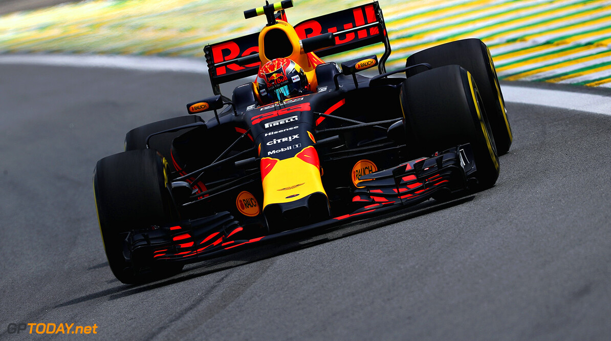 SAO PAULO, BRAZIL - NOVEMBER 10: Max Verstappen of the Netherlands driving the (33) Red Bull Racing Red Bull-TAG Heuer RB13 TAG Heuer on track during practice for the Formula One Grand Prix of Brazil at Autodromo Jose Carlos Pace on November 10, 2017 in Sao Paulo, Brazil.  (Photo by Mark Thompson/Getty Images) // Getty Images / Red Bull Content Pool  // P-20171110-01732 // Usage for editorial use only // Please go to www.redbullcontentpool.com for further information. //  F1 Grand Prix of Brazil - Practice Mark Thompson Sao Paulo Brazil  P-20171110-01732
