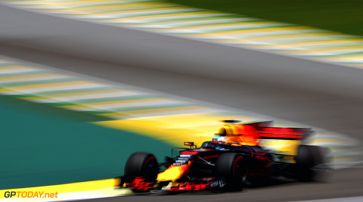 SAO PAULO, BRAZIL - NOVEMBER 10:  Daniel Ricciardo of Australia driving the (3) Red Bull Racing Red Bull-TAG Heuer RB13 TAG Heuer on track during practice for the Formula One Grand Prix of Brazil at Autodromo Jose Carlos Pace on November 10, 2017 in Sao Paulo, Brazil.  (Photo by Mark Thompson/Getty Images) // Getty Images / Red Bull Content Pool  // P-20171110-01399 // Usage for editorial use only // Please go to www.redbullcontentpool.com for further information. //  F1 Grand Prix of Brazil - Practice Mark Thompson Sao Paulo Brazil  P-20171110-01399