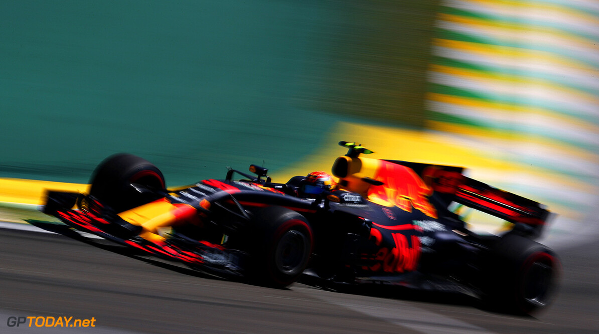 SAO PAULO, BRAZIL - NOVEMBER 12: Max Verstappen of the Netherlands driving the (33) Red Bull Racing Red Bull-TAG Heuer RB13 TAG Heuer on track during the Formula One Grand Prix of Brazil at Autodromo Jose Carlos Pace on November 12, 2017 in Sao Paulo, Brazil.  (Photo by Dan Istitene/Getty Images) // Getty Images / Red Bull Content Pool  // P-20171112-00663 // Usage for editorial use only // Please go to www.redbullcontentpool.com for further information. //  F1 Grand Prix of Brazil Dan Istitene Sao Paulo Brazil  P-20171112-00663