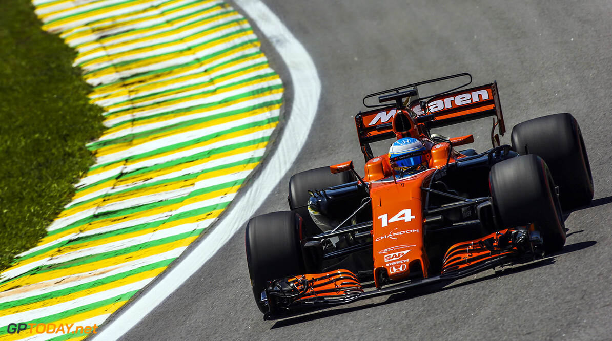 Interlagos, Sao Paulo, Brazil. Friday 10 November 2017. Fernando Alonso, McLaren MCL32 Honda. Photo: Charles Coates/McLaren ref: Digital Image DJ5R3740      f1 formula 1 formula one gp grand prix Action