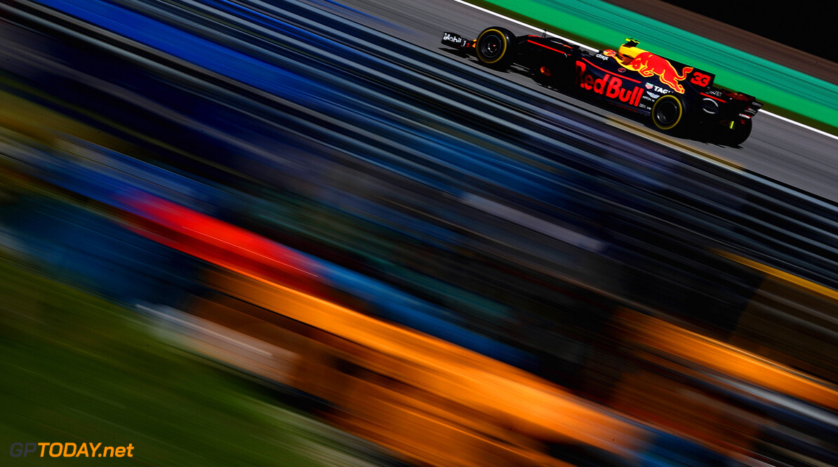 SAO PAULO, BRAZIL - NOVEMBER 12: Max Verstappen of the Netherlands driving the (33) Red Bull Racing Red Bull-TAG Heuer RB13 TAG Heuer on track during the Formula One Grand Prix of Brazil at Autodromo Jose Carlos Pace on November 12, 2017 in Sao Paulo, Brazil.  (Photo by Dan Istitene/Getty Images) // Getty Images / Red Bull Content Pool  // P-20171112-00753 // Usage for editorial use only // Please go to www.redbullcontentpool.com for further information. //  F1 Grand Prix of Brazil Dan Istitene Sao Paulo Brazil  P-20171112-00753