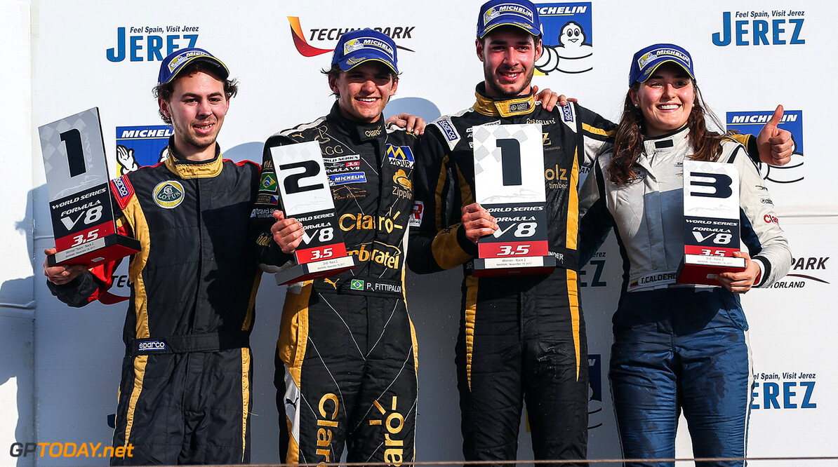 BAHRAIN (BH), November 16-18 2017: Last round of the World Series Formula V8 3.5 at Bahrain International Circuit. podium of race2: Rene Binder #03 Lotus, Pietro Fittipaldi #04 Lotus and Tatiana Calderon #21 RP Motorsport. (C) 2017 Sebastiaan Rozendaal / Dutch Photo Agency BAHRAIN RACING FORMULA V8 2017 Sebastiaan Rozendaal BAHRAIN