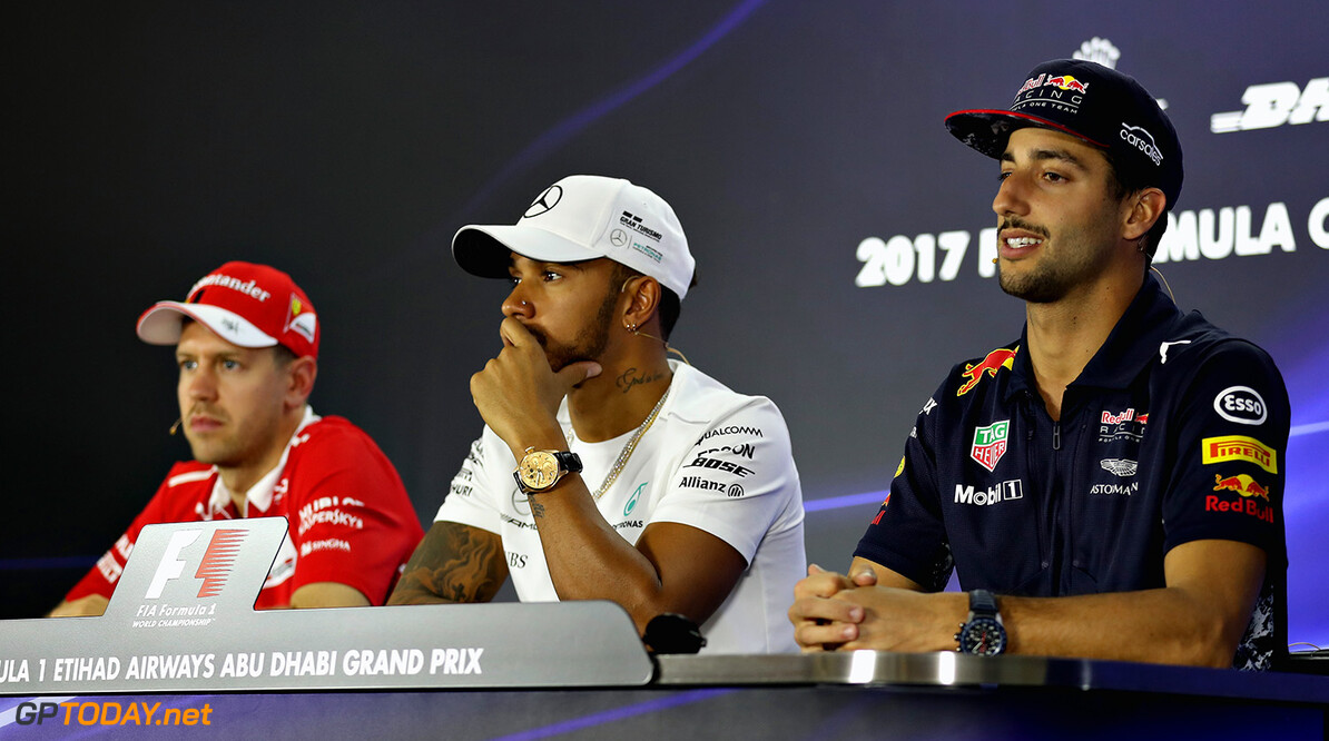ABU DHABI, UNITED ARAB EMIRATES - NOVEMBER 23:  The Drivers Press Conference with Daniel Ricciardo of Australia and Red Bull Racing, Lewis Hamilton of Great Britain and Mercedes GP and Sebastian Vettel of Germany and Ferrari during previews for the Abu Dhabi Formula One Grand Prix at Yas Marina Circuit on November 23, 2017 in Abu Dhabi, United Arab Emirates.  (Photo by Clive Mason/Getty Images) // Getty Images / Red Bull Content Pool  // P-20171123-00741 // Usage for editorial use only // Please go to www.redbullcontentpool.com for further information. //  F1 Grand Prix of Abu Dhabi - Previews Clive Mason Abu Dhabi United Arab Emirates  P-20171123-00741