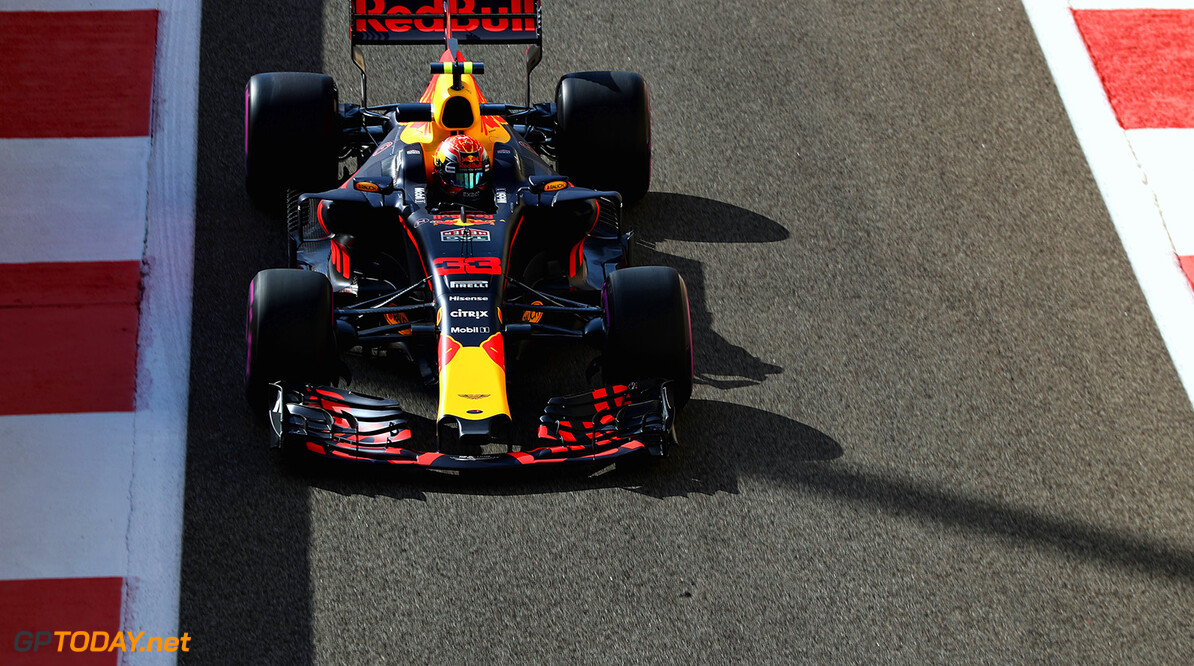 ABU DHABI, UNITED ARAB EMIRATES - NOVEMBER 24: Max Verstappen of the Netherlands driving the (33) Red Bull Racing Red Bull-TAG Heuer RB13 TAG Heuer on track during practice for the Abu Dhabi Formula One Grand Prix at Yas Marina Circuit on November 24, 2017 in Abu Dhabi, United Arab Emirates.  (Photo by Mark Thompson/Getty Images) // Getty Images / Red Bull Content Pool  // P-20171124-00356 // Usage for editorial use only // Please go to www.redbullcontentpool.com for further information. //  F1 Grand Prix of Abu Dhabi - Practice Mark Thompson Abu Dhabi United Arab Emirates  P-20171124-00356