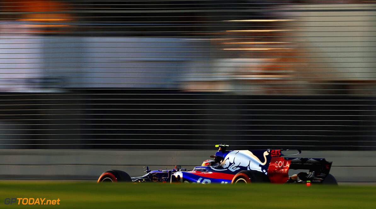 ABU DHABI, UNITED ARAB EMIRATES - NOVEMBER 24: Pierre Gasly of France and Scuderia Toro Rosso drives in the (10) Scuderia Toro Rosso STR12 on track during practice for the Abu Dhabi Formula One Grand Prix at Yas Marina Circuit on November 24, 2017 in Abu Dhabi, United Arab Emirates.  (Photo by Mark Thompson/Getty Images) // Getty Images / Red Bull Content Pool  // P-20171124-01124 // Usage for editorial use only // Please go to www.redbullcontentpool.com for further information. //  F1 Grand Prix of Abu Dhabi - Practice Mark Thompson Abu Dhabi United Arab Emirates  P-20171124-01124