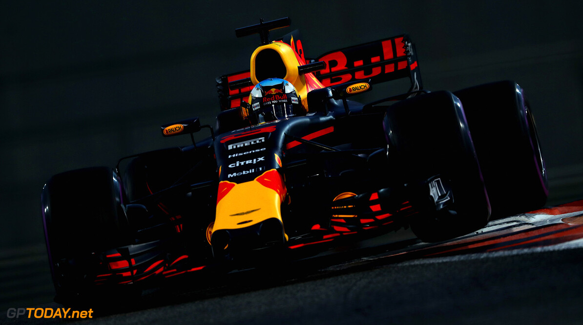 ABU DHABI, UNITED ARAB EMIRATES - NOVEMBER 24:  Daniel Ricciardo of Australia driving the (3) Red Bull Racing Red Bull-TAG Heuer RB13 TAG Heuer on track during practice for the Abu Dhabi Formula One Grand Prix at Yas Marina Circuit on November 24, 2017 in Abu Dhabi, United Arab Emirates.  (Photo by Mark Thompson/Getty Images) // Getty Images / Red Bull Content Pool  // P-20171124-01575 // Usage for editorial use only // Please go to www.redbullcontentpool.com for further information. //  F1 Grand Prix of Abu Dhabi - Practice Mark Thompson Abu Dhabi United Arab Emirates  P-20171124-01575