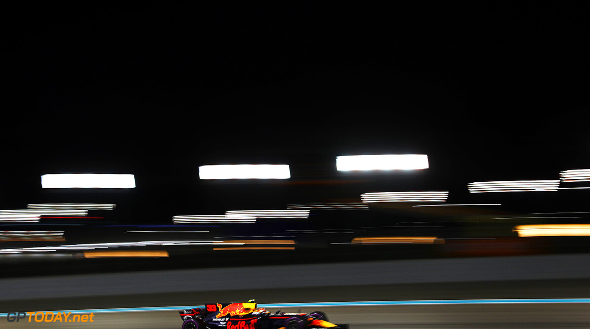 ABU DHABI, UNITED ARAB EMIRATES - NOVEMBER 24: Max Verstappen of the Netherlands driving the (33) Red Bull Racing Red Bull-TAG Heuer RB13 TAG Heuer on track during practice for the Abu Dhabi Formula One Grand Prix at Yas Marina Circuit on November 24, 2017 in Abu Dhabi, United Arab Emirates.  (Photo by Dan Istitene/Getty Images) // Getty Images / Red Bull Content Pool  // P-20171124-01466 // Usage for editorial use only // Please go to www.redbullcontentpool.com for further information. //  F1 Grand Prix of Abu Dhabi - Practice Dan Istitene Abu Dhabi United Arab Emirates  P-20171124-01466