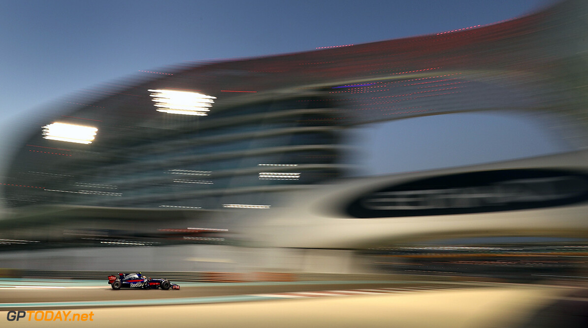 ABU DHABI, UNITED ARAB EMIRATES - NOVEMBER 24: Pierre Gasly of France and Scuderia Toro Rosso drives in the (10) Scuderia Toro Rosso STR12 on track during practice for the Abu Dhabi Formula One Grand Prix at Yas Marina Circuit on November 24, 2017 in Abu Dhabi, United Arab Emirates.  (Photo by Clive Mason/Getty Images) // Getty Images / Red Bull Content Pool  // P-20171124-01669 // Usage for editorial use only // Please go to www.redbullcontentpool.com for further information. //  F1 Grand Prix of Abu Dhabi - Practice Clive Mason Abu Dhabi United Arab Emirates  P-20171124-01669