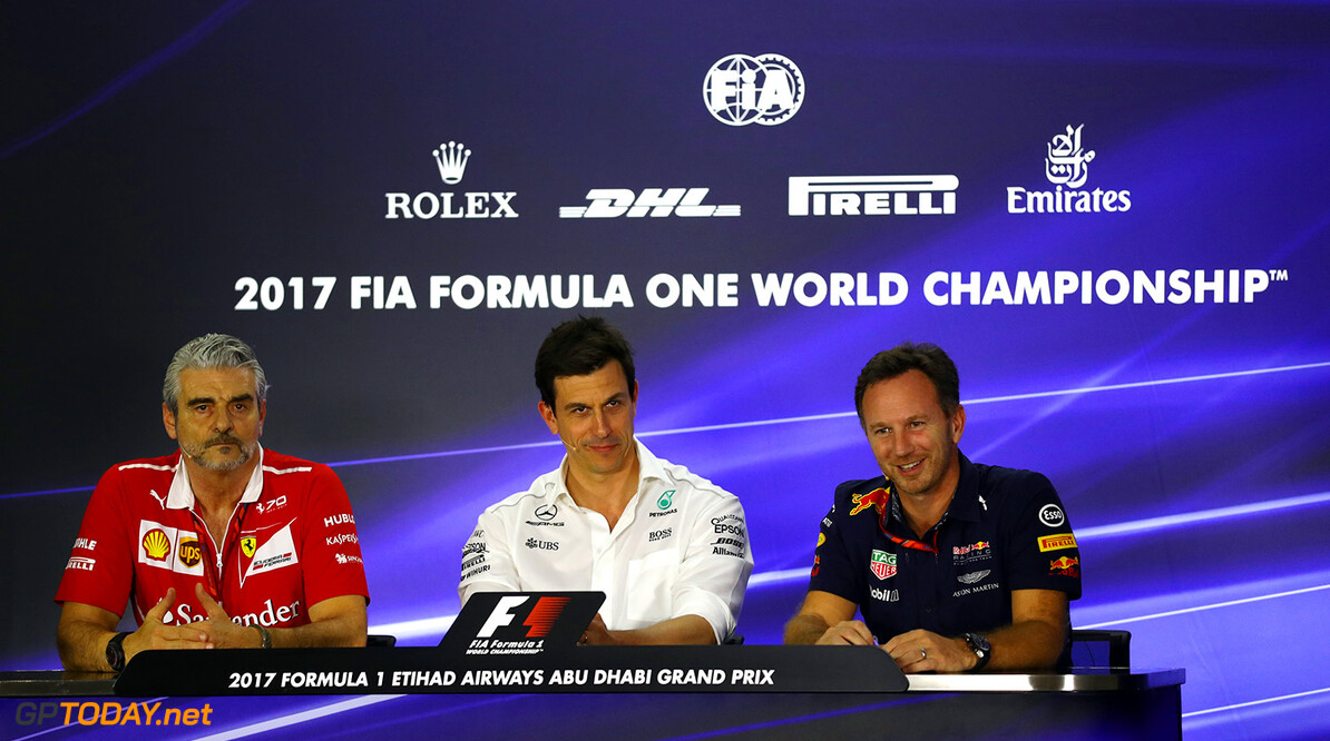 ABU DHABI, UNITED ARAB EMIRATES - NOVEMBER 24:  The Team Principals Press Conference featuring Ferrari Team Principal Maurizio Arrivabene, Mercedes GP Executive Director Toto Wolff and Red Bull Racing Team Principal Christian Horner after practice for the Abu Dhabi Formula One Grand Prix at Yas Marina Circuit on November 24, 2017 in Abu Dhabi, United Arab Emirates.  (Photo by Dan Istitene/Getty Images) // Getty Images / Red Bull Content Pool  // P-20171124-01448 // Usage for editorial use only // Please go to www.redbullcontentpool.com for further information. //  F1 Grand Prix of Abu Dhabi - Practice Dan Istitene Abu Dhabi United Arab Emirates  P-20171124-01448