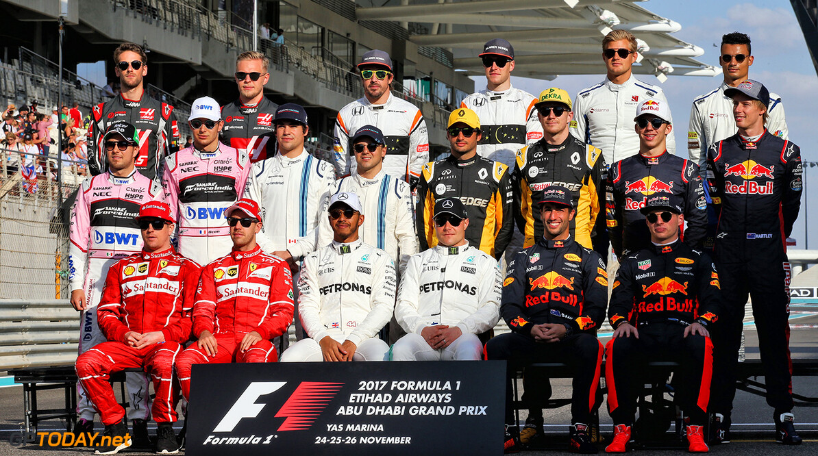 Formula One World Championship The drivers end of season group photograph. Abu Dhabi Grand Prix, Sunday 26th November 2017. Yas Marina Circuit, Abu Dhabi, UAE. Motor Racing - Formula One World Championship - Abu Dhabi Grand Prix - Race Day - Abu Dhabi, UAE James Moy Photography Abu Dhabi Abu Dhabi  Formula One Formula 1 F1 GP Grand Prix Circuit Abu Dhabi UAE United Arab Emirates Yas Marina Circuit JM794 Portrait GP1720d GP1720d_M