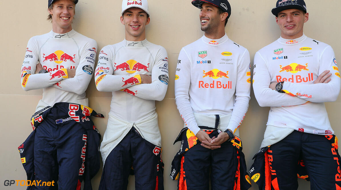 ABU DHABI, UNITED ARAB EMIRATES - NOVEMBER 26:  The Red Bull Racing and Scuderia Toro Rosso drivers for 2018, Brendon Hartley of New Zealand and Scuderia Toro Rosso, Daniel Ricciardo of Australia and Red Bull Racing, Pierre Gasly of France and Scuderia Toro Rosso and Max Verstappen of Netherlands and Red Bull Racing before the Abu Dhabi Formula One Grand Prix at Yas Marina Circuit on November 26, 2017 in Abu Dhabi, United Arab Emirates.  (Photo by Mark Thompson/Getty Images) // Getty Images / Red Bull Content Pool  // P-20171126-00925 // Usage for editorial use only // Please go to www.redbullcontentpool.com for further information. //  F1 Grand Prix of Abu Dhabi Mark Thompson Abu Dhabi United Arab Emirates  P-20171126-00925