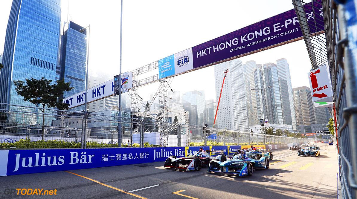 2017/2018 FIA Formula E Championship. Round 1 - Hong Kong, China. Saturday 02 December 2017. Maro Engel (GER), Venturi Formula E, Venturi VM200-FE-03, and Kamui Kobayashi (JAP), MS + AD Andretti Formula E, Andretti ATEC-03. Photo: Sam Bloxham/LAT/Formula E ref: Digital Image _J6I4950      fe, formula e, action