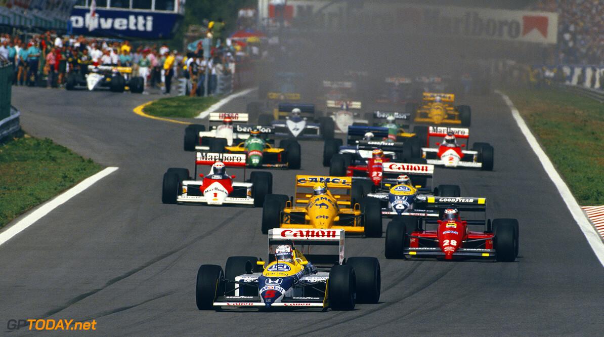 1987 Portuguese Grand Prix  Estoril, Portugal. 18-20 September 1987. Nigel Mansell (Williams FW11B Honda) leads Gerhard Berger (Ferrari F187) Ayrton Senna (Lotus 99T Honda), Nelson Piquet (Williams FW11B Honda) and Alain Prost (McLaren MP4/3 TAG Porsche) at the start, action. World Copyright: LAT Photographic Ref:87 POR 09.
