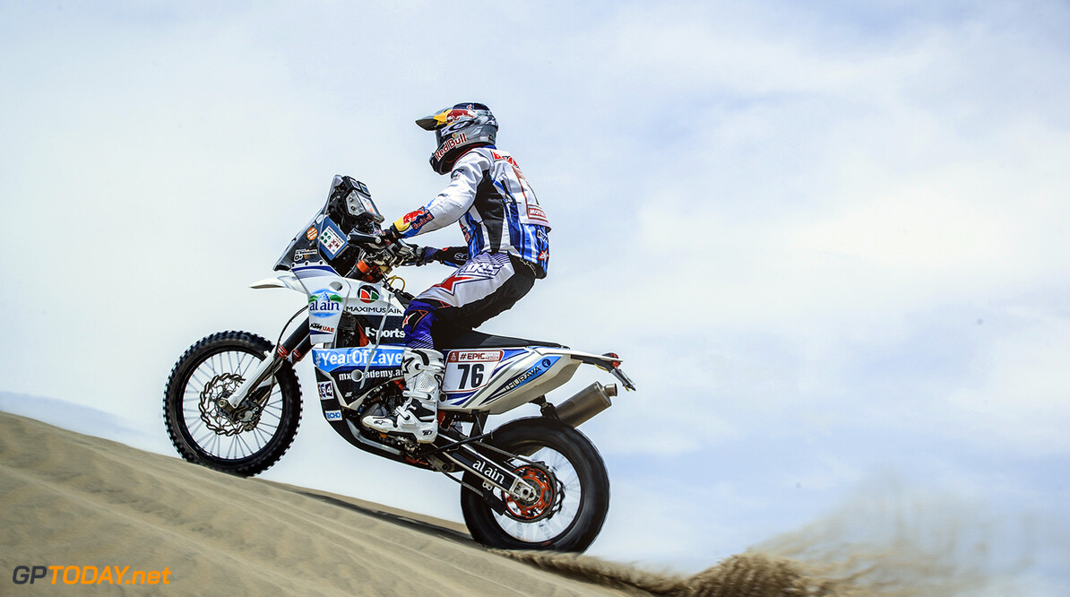 Balooshi Mohammed (UAE) of KTM Ride to Abu Dha races during stage 1 of Rally Dakar 2018 from Lima to Pisco, Peru on January 6, 2018. // Flavien Duhamel/Red Bull Content Pool // P-20180107-00013 // Usage for editorial use only // Please go to www.redbullcontentpool.com for further information. //  Balooshi Mohammed Flavien Duhamel