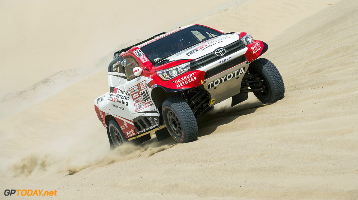 Giniel De Villiers (ZAF) of Toyota Gazoo Racing SA races during stage 01 of Rally Dakar 2018 from Lima to Pisco, Peru on January 06, 2018 // Marcelo Maragni/Red Bull Content Pool // P-20180106-00212 // Usage for editorial use only // Please go to www.redbullcontentpool.com for further information. //  Giniel de Villiers     P-20180106-00212