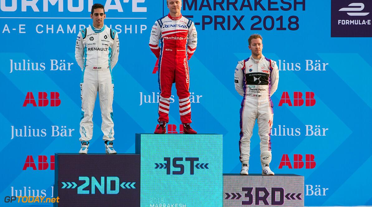 2017/2018 FIA Formula E Championship. Round 3 - Marrakesh ePrix. Circuit International Automobile Moulay El Hassan, Marrakesh, Morocco. Saturday 13 January 2018. Felix Rosenqvist (SWE), Mahindra Racing, Mahindra M4Electro, celebrates at the podium, with Sebastien Buemi (SUI), Renault e.Dams, Renault Z.E 17, and Sam Bird (GBR), DS Virgin Racing, DS Virgin DSV-03. Photo: Zak Mauger/LAT/Formula E ref: Digital Image _X0W6457 2017/2018 FIA Formula E Championship. Zak Mauger    fe formula e podium