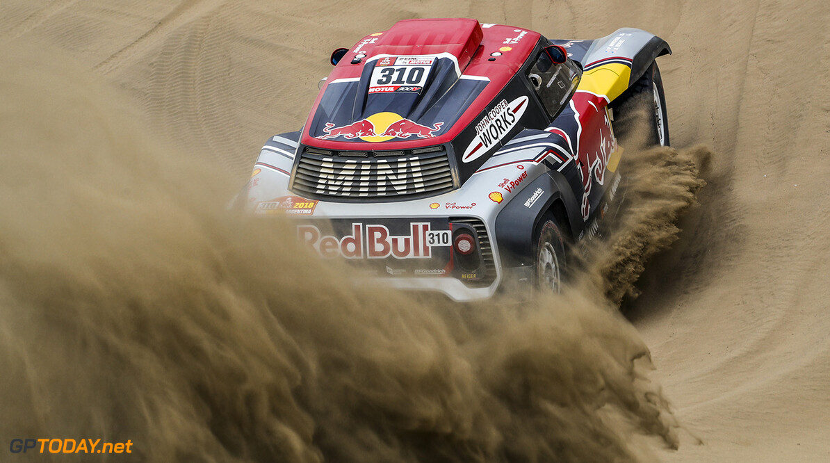 Bryce Menzies and Peter Mortensen in the Mini John Cooper Works Buggy of the X-Raid Team navigating through the dunes during stage 1 of the Dakar Rally, between Lima and Pisco, Peru, on January 6, 2018. // Florent Gooden / DPPI / Red Bull Content Pool  // P-20180115-00948 // Usage for editorial use only // Please go to www.redbullcontentpool.com for further information. //  Bryce Menzies Florent Gooden    P-20180115-00948