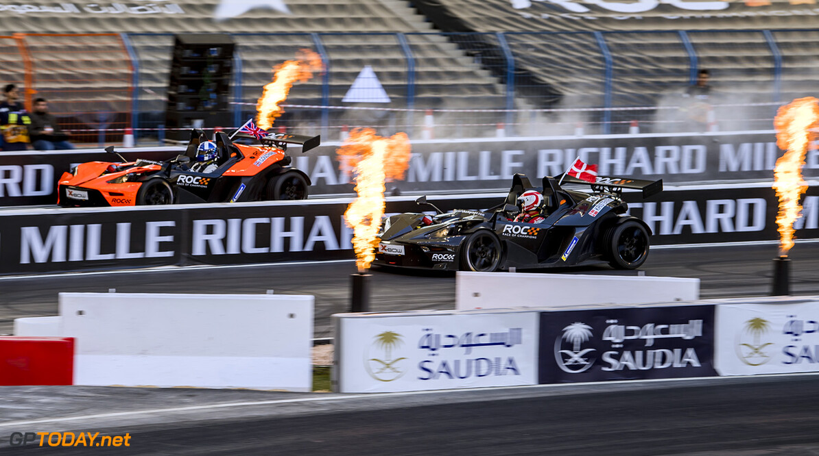2018 Race of Champions, KIng Farhad Stadium, Riyadh, Saudi Arabi David Coulthard (GBR) driving the KTM X-Bow Comp R beats Tom Kristensen (DNK) during the Race of Champions on Saturday 3 February 2018 at King Fahad Stadium, Riyadh, Saudi Arabia.