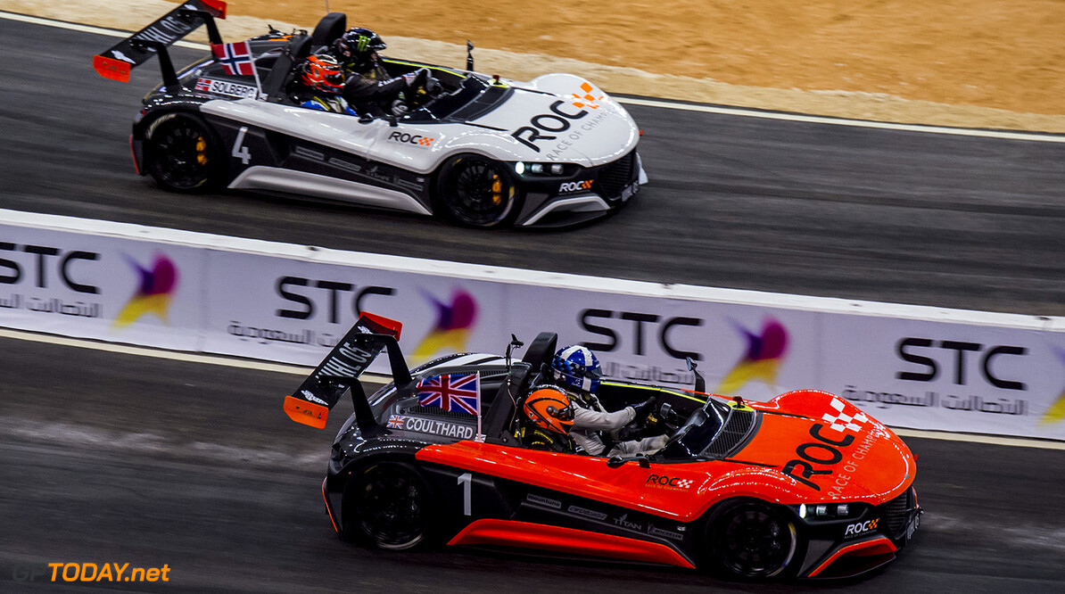 2018 Race of Champions, KIng Farhad Stadium, Riyadh, Saudi Arabi David Coulthard (GBR) and Petter Solberg (NOR) driving the VUHL 05 ROC Edition during the Race of Champions on Saturday 3 February 2018 at King Fahad Stadium, Riyadh, Saudi Arabia.