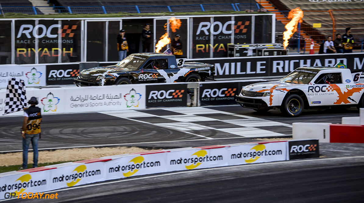 2018 Race of Champions, KIng Farhad Stadium, Riyadh, Saudi Arabi Ryan Hunter-Reay (USA) and Helio Castroneves (BRA) driving the Xtreme Pickup during the Race of Champions on Saturday 3 February 2018 at King Fahad Stadium, Riyadh, Saudi Arabia.