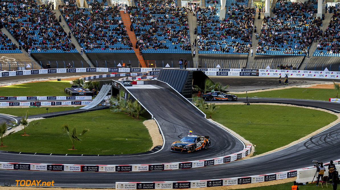2018 Race of Champions, KIng Farhad Stadium, Riyadh, Saudi Arabi Juan-Pablo Montoya (COL) and Helio Castroneves (BRA) driving the Whelen NASCAR during the Race of Champions on Saturday 3 February 2018 at King Fahad Stadium, Riyadh, Saudi Arabia.
