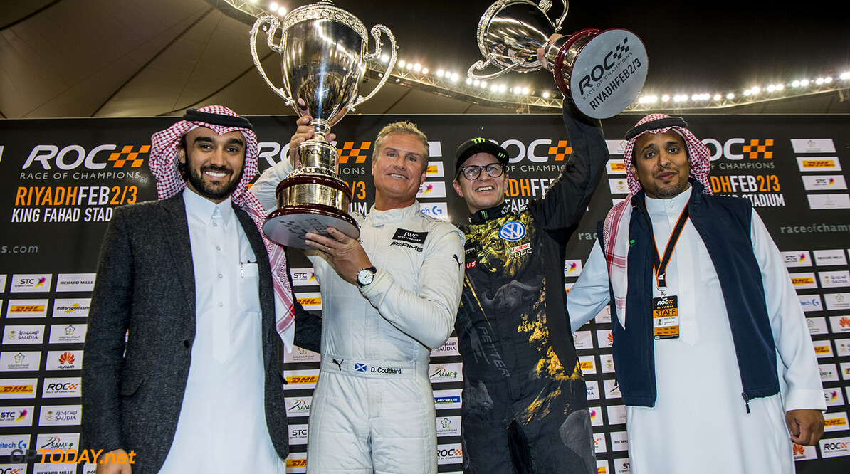 2018 Race of Champions, KIng Farhad Stadium, Riyadh, Saudi Arabi Winner David Coulthard (GBR) and runner up Petter Solberg (NOR) celebrate on the podium with Prince Khaled Al Faisal, President of the Motor Federation Of Saudi Arabia during the Race of Champions on Saturday 3 February 2018 at King Fahad Stadium, Riyadh, Saudi Arabia.
