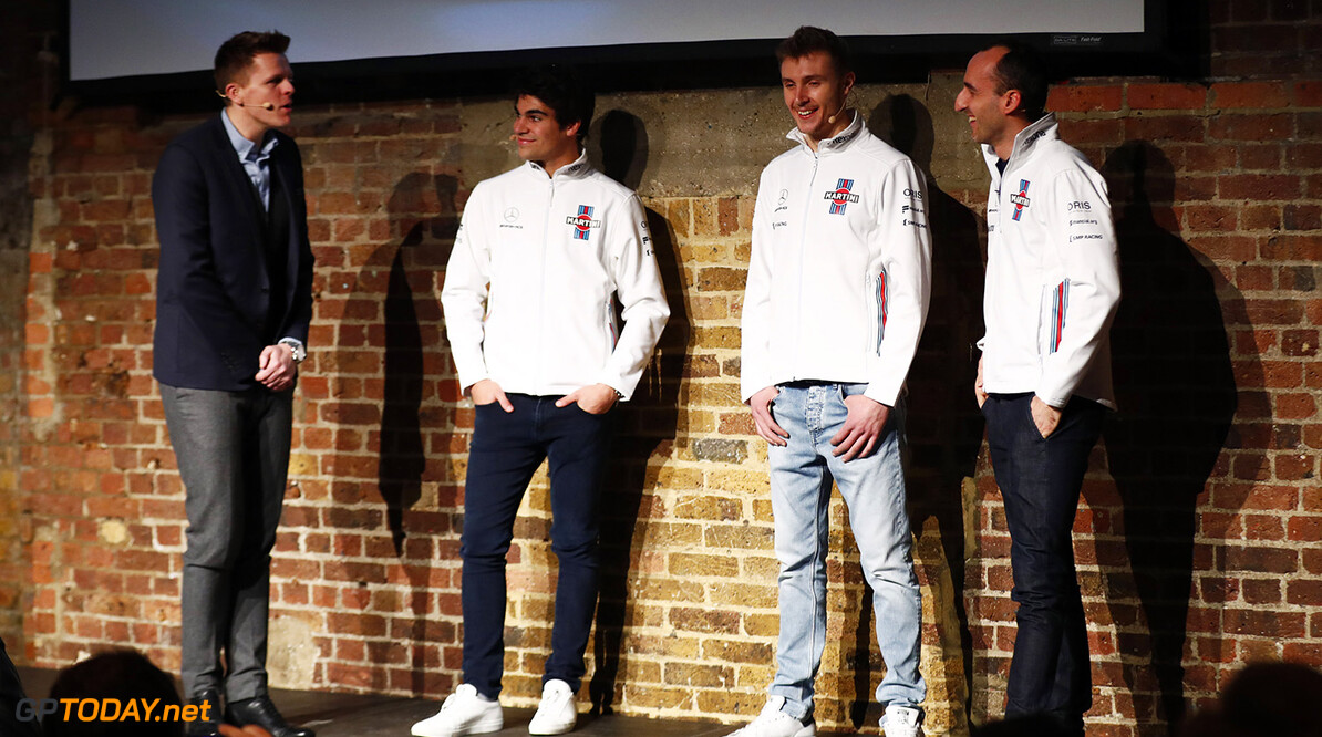 2018 Williams Season Launch. Shoreditch, London, United Kingdom. Thursday 15 February 2018. Lance Stroll, Sergey Sirotkin and Robert Kubica on stage at the launch of the FW41 World Copyright: /Williams F1 ref: Digital Image _J6I6099