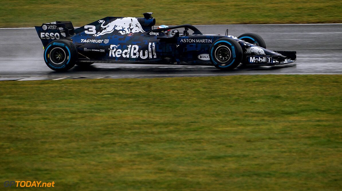 NORTHAMPTON, ENGLAND - FEBRUARY 19:  Daniel Ricciardo of Australia driving the (3) Aston Martin Red Bull Racing Red Bull RB14 TAG Heuer during the Aston Martin Red Bull Racing RB14 Special Edition filming day at Silverstone Circuit on February 19, 2018 in Northampton, England.  (Photo by James Bearne/Getty Images) // Getty Images / Red Bull Content Pool  // AP-1UTKZFZP12111 // Usage for editorial use only // Please go to www.redbullcontentpool.com for further information. //  Aston Martin Red Bull Racing RB14 Special Edition livery James Bearne Silverstone United Kingdom  AP-1UTKZFZP12111