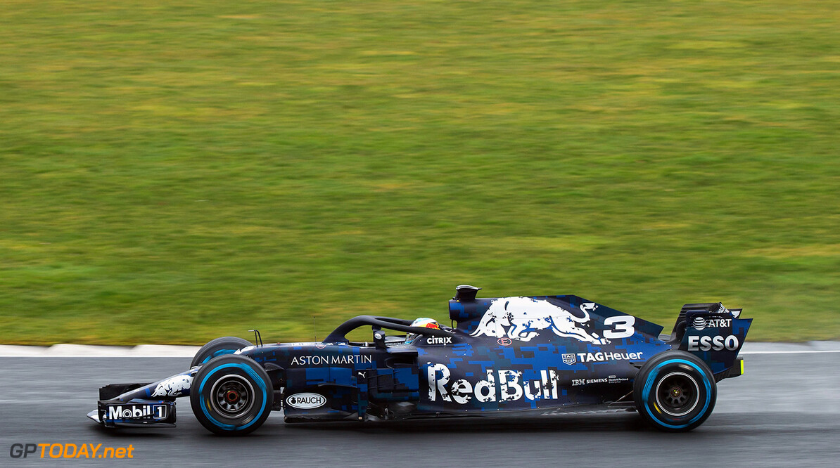 NORTHAMPTON, ENGLAND - FEBRUARY 19:  Daniel Ricciardo of Australia driving the (3) Aston Martin Red Bull Racing Red Bull RB14 TAG Heuer during the Aston Martin Red Bull Racing RB14 Special Edition filming day at Silverstone Circuit on February 19, 2018 in Northampton, England.  (Photo by James Bearne/Getty Images) // Getty Images / Red Bull Content Pool  // AP-1UTN4924H2111 // Usage for editorial use only // Please go to www.redbullcontentpool.com for further information. //  Aston Martin Red Bull Racing RB14 Special Edition livery James Bearne Silverstone United Kingdom  AP-1UTN4924H2111