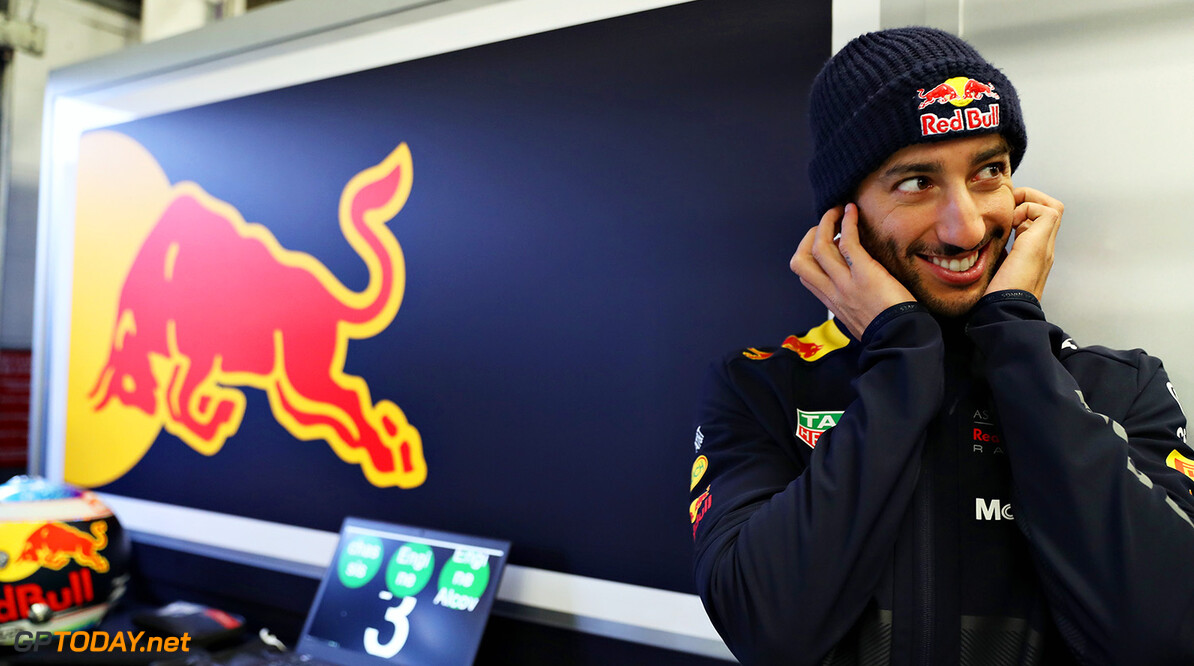 NORTHAMPTON, ENGLAND - FEBRUARY 19:  Daniel Ricciardo of Australia and Aston Martin Red Bull Racing looks on in the garage during the Aston Martin Red Bull Racing RB14 Special Edition filming day at Silverstone Circuit on February 19, 2018 in Northampton, England.  (Photo by Mark Thompson/Getty Images) // Getty Images / Red Bull Content Pool  // AP-1UTMZHM352111 // Usage for editorial use only // Please go to www.redbullcontentpool.com for further information. //  Aston Martin Red Bull Racing RB14 Special Edition livery Mark Thompson Silverstone United Kingdom  AP-1UTMZHM352111