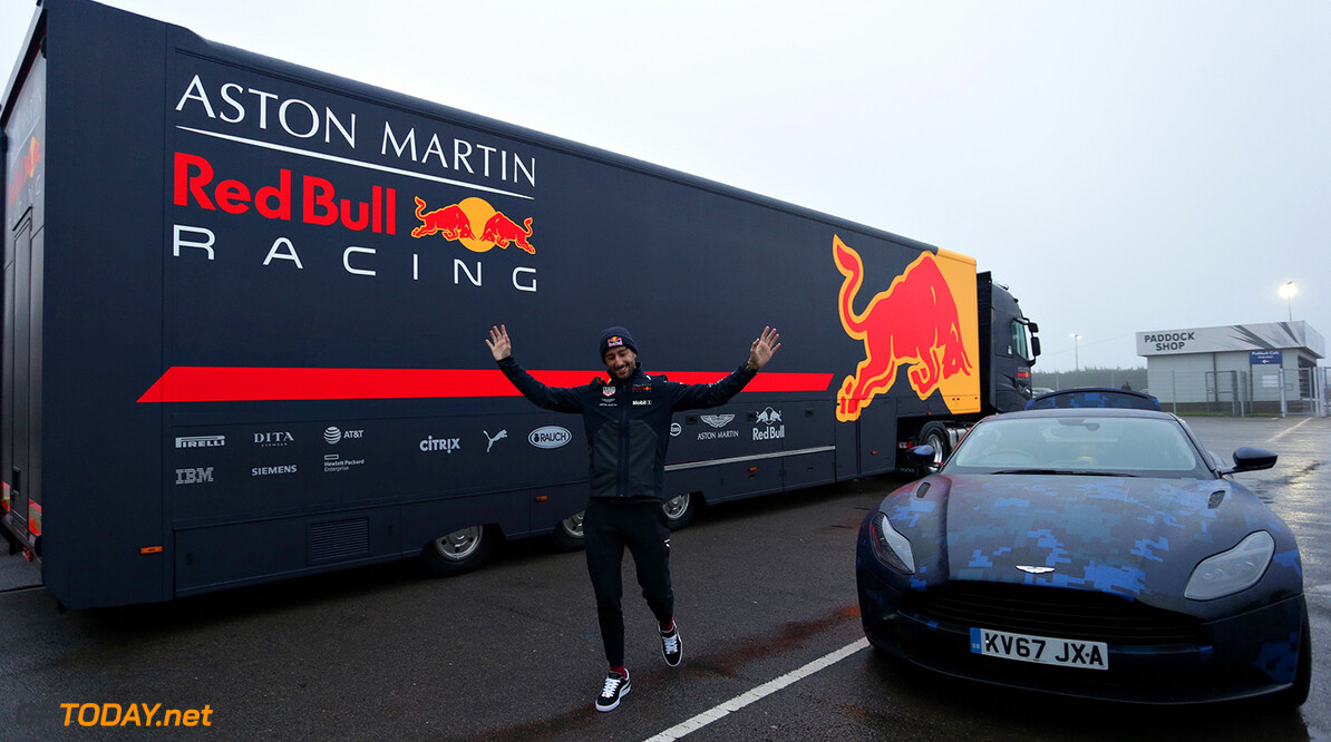 NORTHAMPTON, ENGLAND - FEBRUARY 19:  Daniel Ricciardo of Australia and Aston Martin Red Bull Racing arrives at the circuit in his Aston Martin DB11 before the Aston Martin Red Bull Racing RB14 Special Edition filming day at Silverstone Circuit on February 19, 2018 in Northampton, England.  (Photo by James Bearne/Getty Images) // Getty Images / Red Bull Content Pool  // AP-1UTMZZS4D1W11 // Usage for editorial use only // Please go to www.redbullcontentpool.com for further information. //  Aston Martin Red Bull Racing RB14 Special Edition livery James Bearne Silverstone United Kingdom  AP-1UTMZZS4D1W11