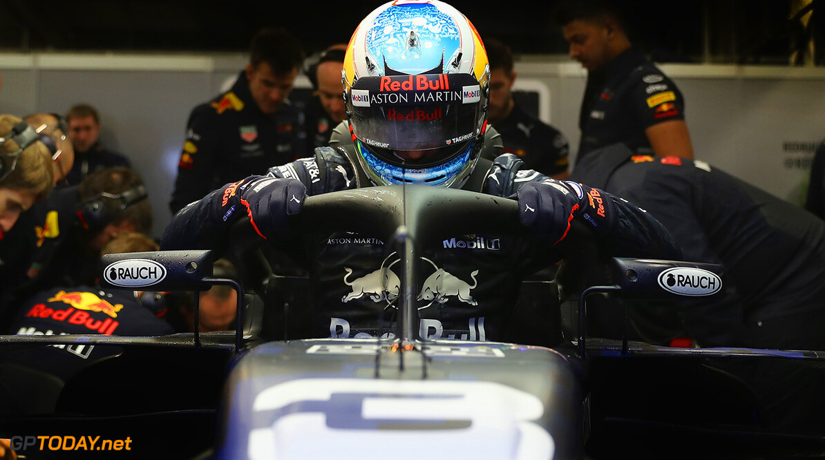 NORTHAMPTON, ENGLAND - FEBRUARY 19:  Daniel Ricciardo of Australia prepares to drive the (3) Aston Martin Red Bull Racing Red Bull RB14 TAG Heuer during the Aston Martin Red Bull Racing RB14 Special Edition filming day at Silverstone Circuit on February 19, 2018 in Northampton, England.  (Photo by Mark Thompson/Getty Images) // Getty Images / Red Bull Content Pool  // AP-1UTMZ46FH1W11 // Usage for editorial use only // Please go to www.redbullcontentpool.com for further information. //  Aston Martin Red Bull Racing RB14 Special Edition livery Mark Thompson Silverstone United Kingdom  AP-1UTMZ46FH1W11